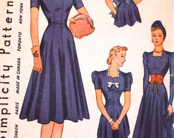 "1930s Sewing Pattern / 1930s Dress Pattern / Simplicity 3302 / Wartime Dress / Bust 34"" Waist 28"""
