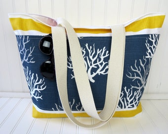 Beach Bag with Sea Coral - Striped Beach Bag - Waterproof Beach Bag - Yellow Striped Beach Bag
