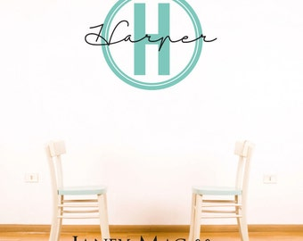 Monogram Wall Decal - Circle Monogram Vinyl Wall Art  - Monogram with Name - Modern Monogram Wall Decor Sticker- CM153C