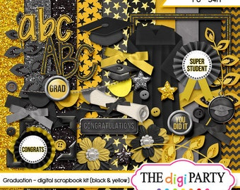 Graduation digital scrapbook kit papers for graduate digi scrapbooking scrap instant download