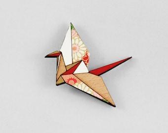 Red Origami Paper Crane Brooch,Lasercut Wood Brooch,Japanese Paper Brooch,Origami Jewellery,Paper Anniversary Gift,Paper Crane Jewellery