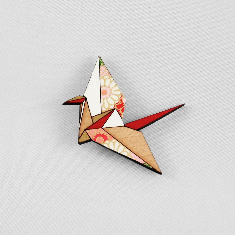 Red Origami Paper Crane BroochLasercut Wood BroochJapanese - photo#14