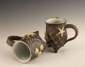 Fishnet Starfish Mug set, His and Hers mugs, Black and white ocean inspired handmade pottery, wedding gift