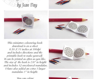 Mandala Colouring Book PDF, JPG in Miniature, 1:12 scale Printable Project, Digital Dollhouse Instant Download MB004