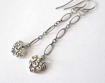 Fine Silver Hearts Long Dangle Earrings, Flower and Leaves, Ox. Sterling Chain and Hooks, Handmade Heart Charms .999 FS
