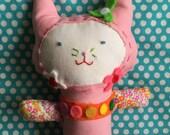 Super Cute Kitty Plush - Pink Plush Cat - OOAK Cat - Soft Kitty - Soft Toy - Cotton Cat - Valentine Gift