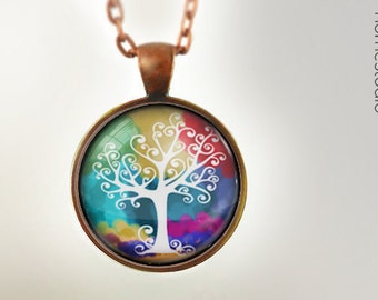 Life Tree : Glass Dome Necklace, Pendant or Keychain Key Ring. Gift Present metal round art photo jewelry HomeStudio Silver Copper