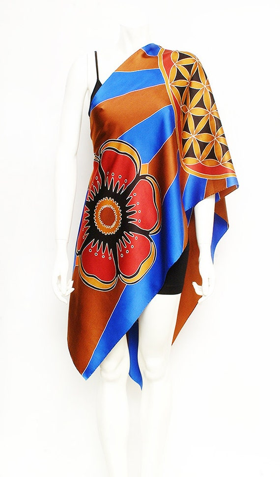 "Hand Painted Silk Scarf with Flower of Life. Batik Hand painted on charmeuse silk. Size 21""x72""."