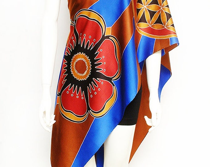 Flower of life design, sacred geometry mandala, hand painted scarves, luxury scarves, art to wear, flower scarf, unique gift ideas