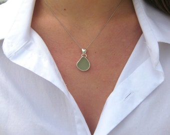 Sea Glass and Sterling Silver Bezel Necklace | Simple Sea Glass | Sea Glass Jewelry | Sea Glass Necklace | Classic Bezel Set Sea Glass