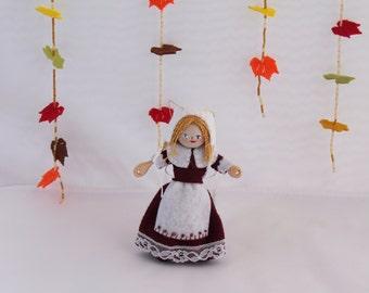 Felt Art Doll Hanging Ornament  Pilgrim Girl in burgundy dress Ready to Work, Felt hanging ornaments, Felt decorations