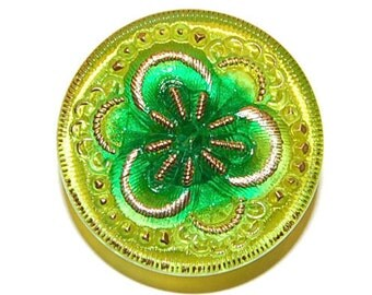 Czech Glass Button; 27mm, Light Green Pansy with Gold Markings