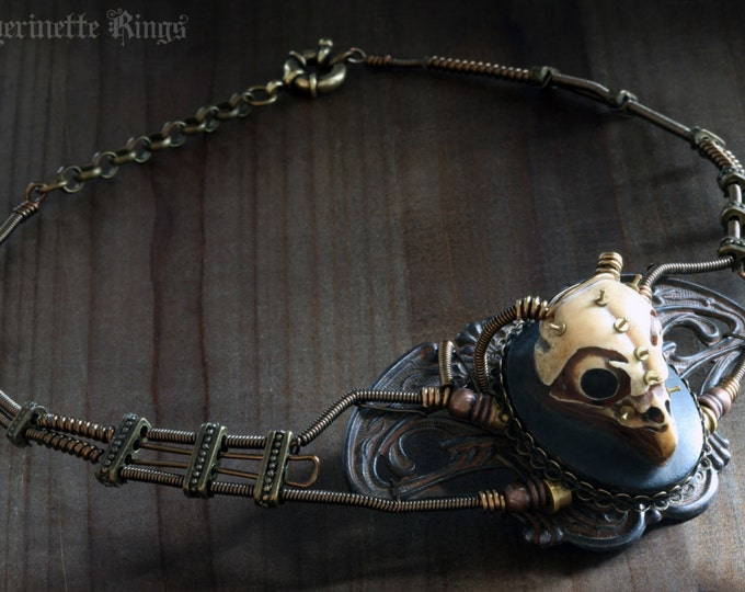 Steampunk Macabre Victorian Jewellery - Necklace - Owl skull - Faux-taxidermy - Post-apocalyptic