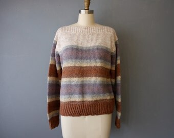 vintage 70s sweater / striped boatneck pullover / brown blue cream