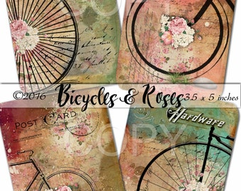 Instant Download - Bicycles and Roses -   Printable Digital Collage Sheet  - Romantic Downloads Hang Tags Scrapbooking