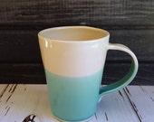 Handmade Mug, Made to Order, Modern Mug with Simple Dipped Design, Robin's Egg Blue and White, Porcelain Mug, Simple Mug, Coffee Cup