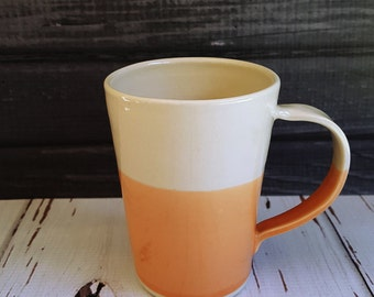 Handmade Mug, Made to Order, Modern Mug with Simple Dipped Design, Orange and White, Porcelain Mug, Modern Mug, Colorful Mug, Coffee Cup