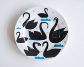 SUMMER SALE! Black swans, waves and dots plate