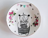 Little bear in a bathing suit with garland and raindrops screenprinted small vintage plate