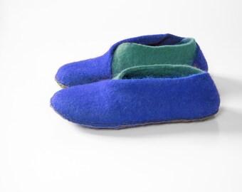 New 2016 collection  Envelope Slippers Womens slippers Men Felt natural wool handmade slippers - Blue Blue slippers