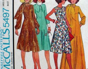 Vintage Princess Seam Dress Pattern McCall's 5497 Bust 36 Factory Folded