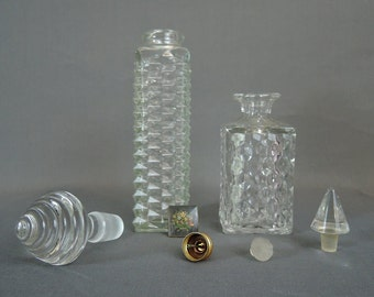 2 Vintage Perfume Bottles, 3 Stoppers and an Atomizer, 1930s 1940s, Decanters, Perfume parts