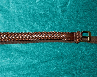 vintage 70s woven leather belt, brown, tan