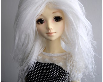 "White color tibetan mohair wig for bjd 8/9"" sd size"