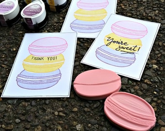 Large Macaron (Set of Two) - Hand Carved Rubber Stamps