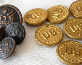 Lot of 10 VINTAGE Eagle & US Uniform Metal BUTTONS