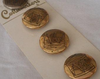 Set of 4 VINTAGE Drum Design Gold Metal BUTTONS