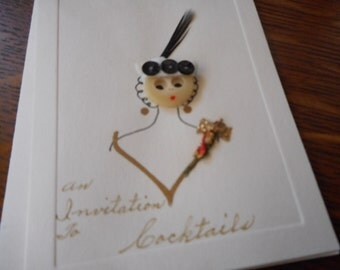 VINTAGE Handmade Button Lady Invitation Paper Card & Envelope
