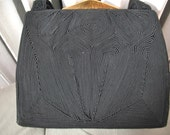 Cordé   Vintage 1940s Black Gimp Purse Handbag Deco Design Hinge Purse Brass Hardware