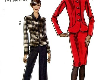 Vogue V8302 Easy Fitted Unlined Jacket Skirt and Pants Size 6 8 10 12 Uncut Sewing Pattern 2006