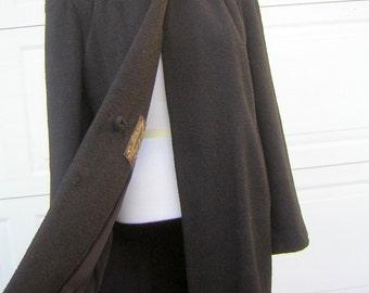 """40s 50s Black Coat Pebble Twist Wool & Quilted Epaulet Shoulder Formal Prim -  Bust 48"""""""