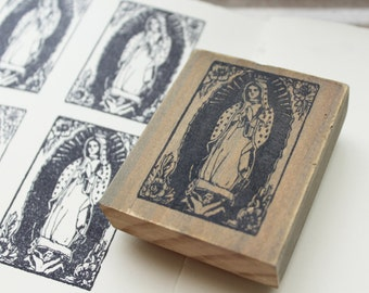 lady guadalupe rubber stamp / our lady of guadalupe / virgin guadalupe artwork / mother mary gifts