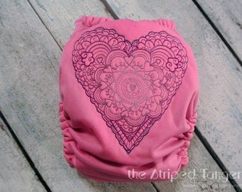 Sweetheart Doodle on Pink- Embroidered OS All in Two Cloth Diaper- AI2