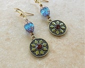 Shipwrecked Bronze Medallion Earrings Precosia Brand Faceted Cathedral Crystal