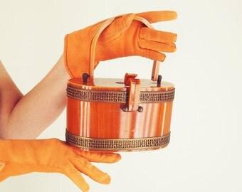 40s Caramel Lucite Box Bag