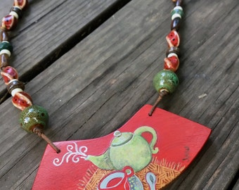 The Way Of Tea Hand Painted Wearable Artwork Necklace