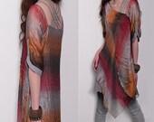 Hpnosis Cardiff version - idea2lifestyle zen layered tunic dress / boho yoga top organza dress/ California sunset fabric boho tunic (Q1710X)