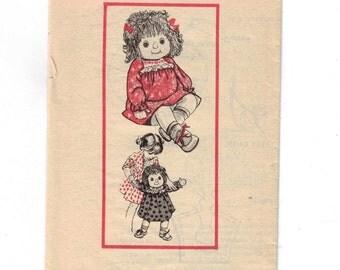 1980s Vintage Doll Sewing Pattern Mail Order 7313 Design Rag Doll Dress Hat 20 Inch Large UNCUT