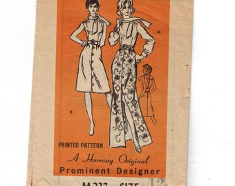 1970s Vintage Sewing Pattern Mail Order M237 Prominent Designer Harmay Original Button Front Skirt Dress Front Size 12 Bust 34 70s  99