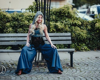 VEDA LINEN PANTS - Hippie Boho Bohemian Gypsy Fairy Pixie Faery Belly Dance Trousers Skirt Baggy Wide leg Flared Gothic - Blue