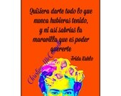 Frida Kahlo Customized Poster Instant Digital Download Print With Your Quote Minimalist Boho Warhol Modern Home Decor Orange Black Yellow