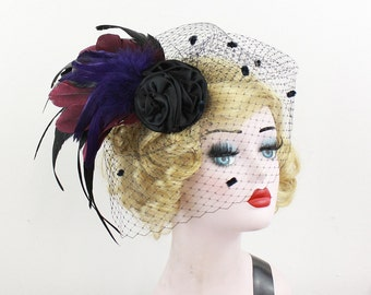 Black Feather Fascinator with Removable Dotted Veil, Black Birdcage Veil, Halloween Wedding Headpiece, Rose Hair Accessory, Goth Brida