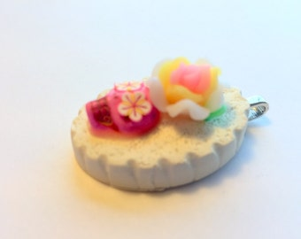 Lolita Day of the Dead Sugar Skull Pendant in Prettiest Pink and White Rose