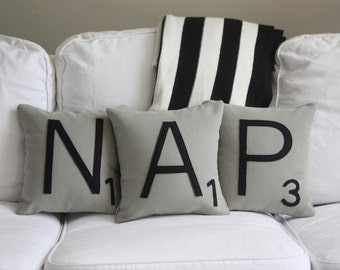 NAP Scrabble Pillows - Inserts Included // Scrabble Tile Pillows // Nap Queen // Modern Farmhouse // Large Scrabble Letters // Pillows