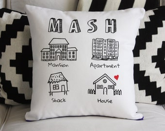 MASH Game Pillow // Mansion Apartment Shack House // 80s // 90s // Nostalgia // School  // Teen // Tween // Retro // Housewarming //