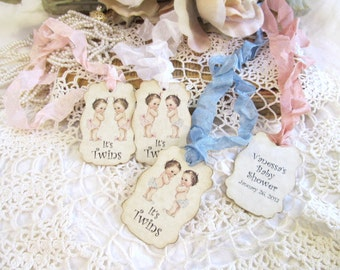 It's Twins Baby Shower Favor Tags - Set of 18 - Parchment Double Sided Customized Personalized - Choose Ribbons - twin girls boys